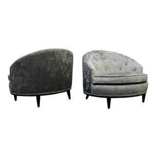 Mid-Century Barrel Back Slipper Chairs - A Pair For Sale