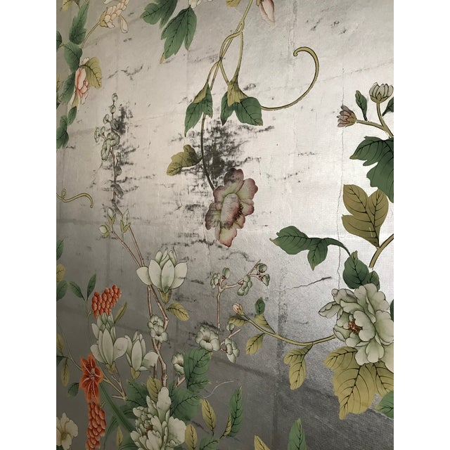 Chinoiserie Old Handpainted Wallpaper Panel Mounted on Foam Core For Sale - Image 4 of 7