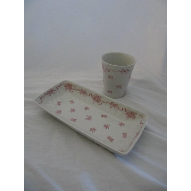 Vintage Laura Ashley Pink Ribbons Vanity Set-4 Pieces For Sale - Image 5 of 6