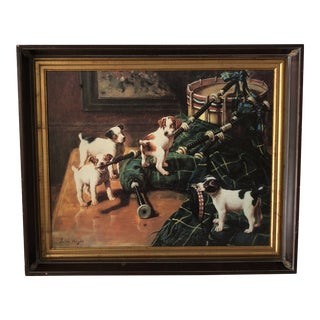 1960s Vintage John Hayes Playful Pups With Scottish Bagpipe Print For Sale