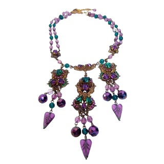 Exquisite Crystal Jeweled Tiered Necklace. 1950's. For Sale