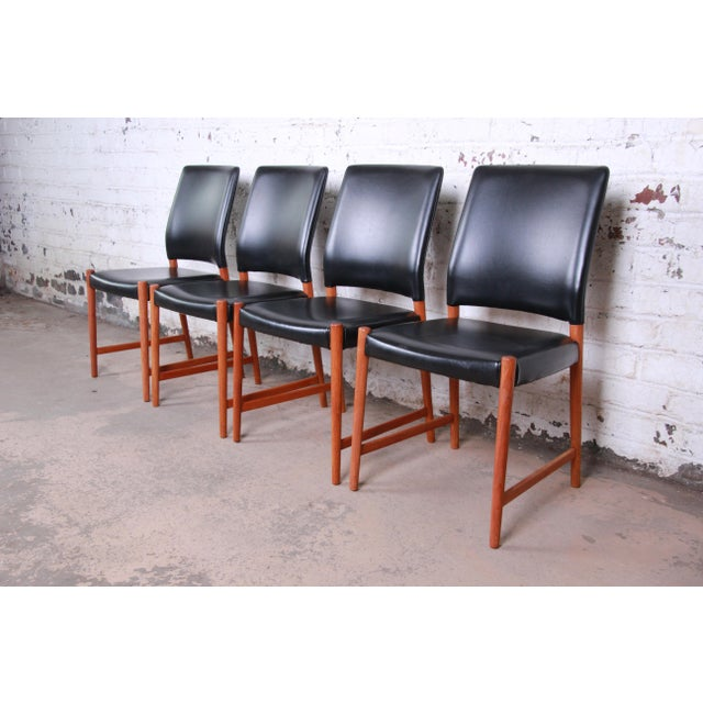 Torbjorn Afdal Teak and Black Leather Dining Chairs, Set of Four For Sale - Image 11 of 11