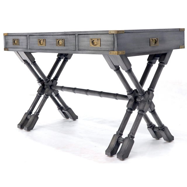 Horn Tone Neutral Finish X Base Campaign Desk with Brass Hardware For Sale - Image 6 of 13