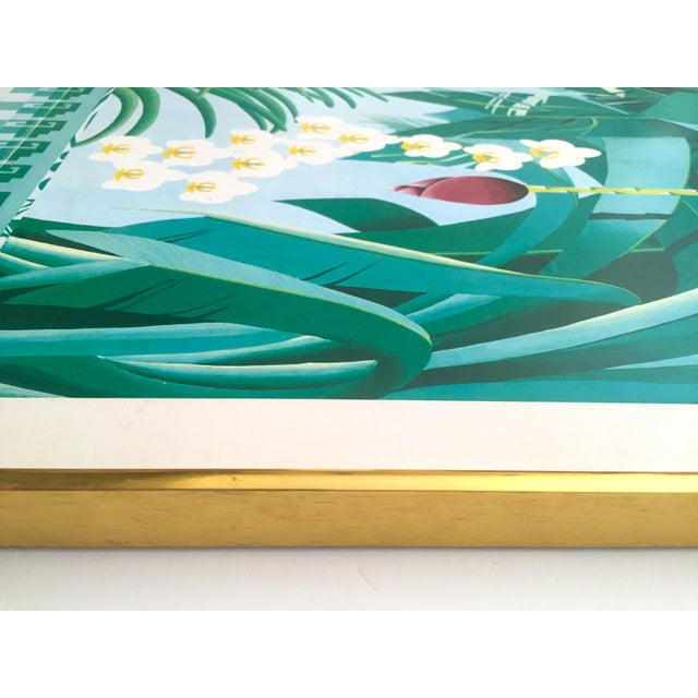"""Vintage 1980 """" Gary Shaw Key West """" Tropical Botanical Lithograph Print Framed Exhibition Poster For Sale - Image 11 of 13"""