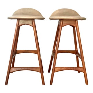 Erik Buch Danish Modern Counter Stools for o.d. Mobler - a Pair For Sale