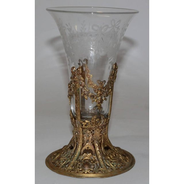 19th Century French Ormolu Metal Etched Glass - Image 2 of 10