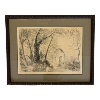 Classical Pavilion and Landscape Etching For Sale