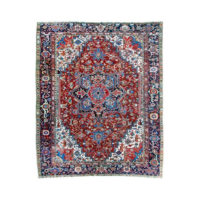 """Antique Persian Heriz Rug - 8' 10"""" x 11' 2"""" - Image 1 of 9"""