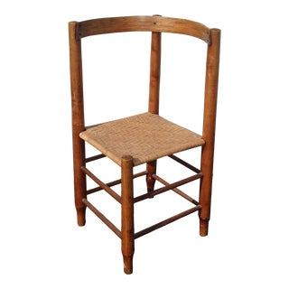 Vintage French Country Oak & Rush Corner Chair Farmhouse Chic For Sale