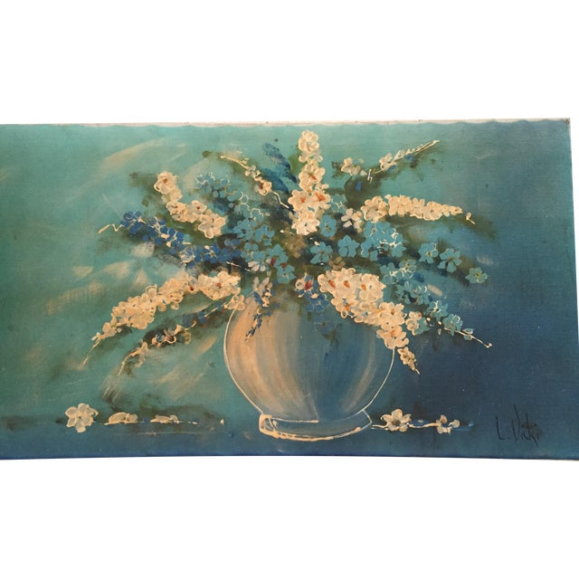 Mid-Century Vase and Flowers Painting - Image 1 of 10