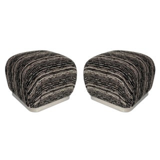 Pair of Karl Springer Style Chrome Souffle Pouf Ottomans For Sale