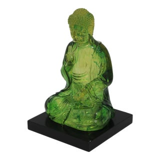 Vintage Seated Buddha Green Translucent Lucite Black Base For Sale