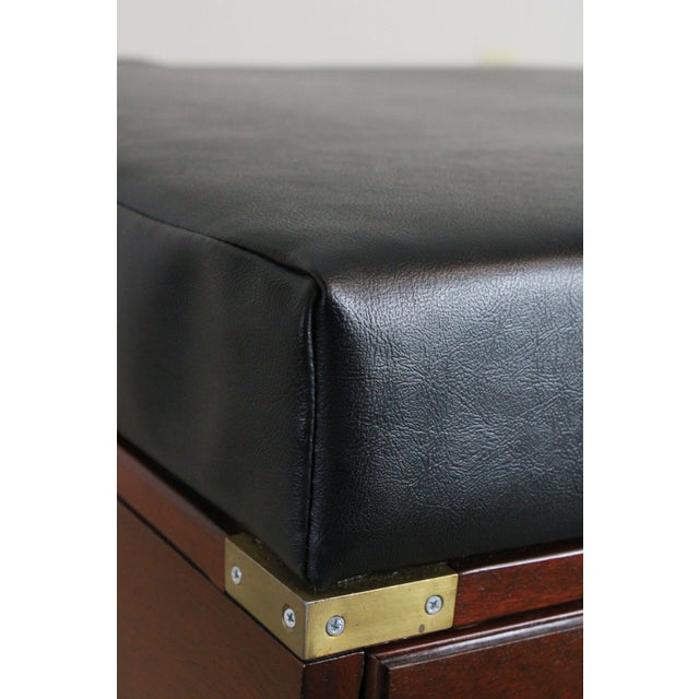 Campaign Style Large Mahogany Bench With Storage Drawers For Sale - Image 9 of 12