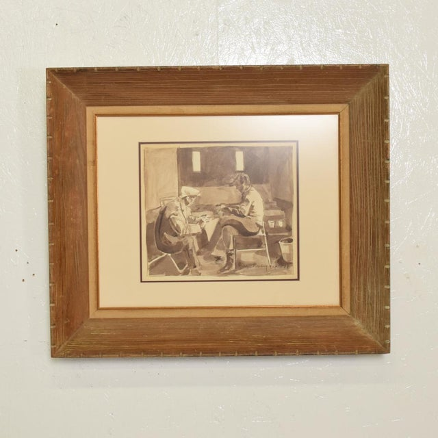 For your consideration, a Mid Century Modern Water Color Signed Diego Rivera no COA. Sepia tones in a wood frame....