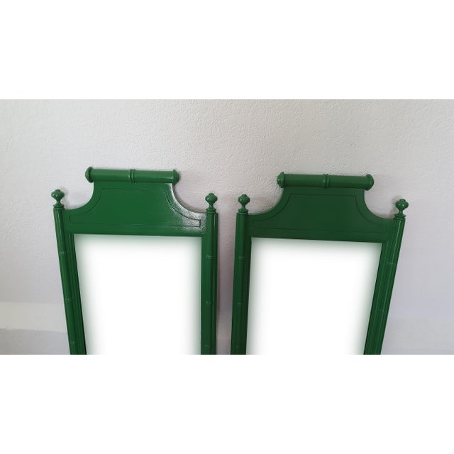 Vintage pair of Palm Beach style mirrors beautifully painted in a High Gloss Seaweed Green