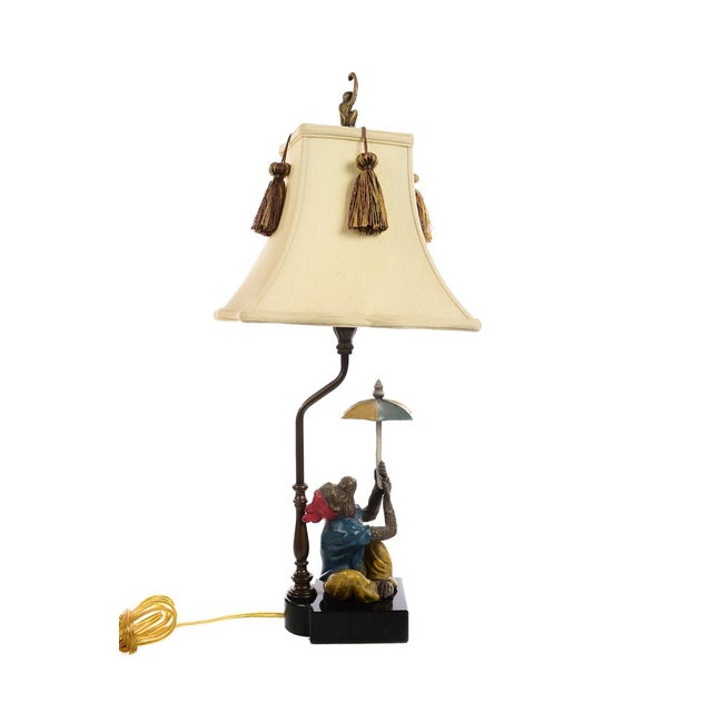 Wood Monkeys Holding an Umbrella -Beautiful Vintage Table Lamps-A Pair For Sale - Image 7 of 10