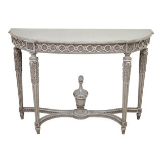 Vintage French Louis XVI Style Original Painted and Carved Console Table For Sale