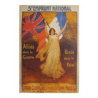 1919 British Propaganda Poster, 5e Emprunt Francais