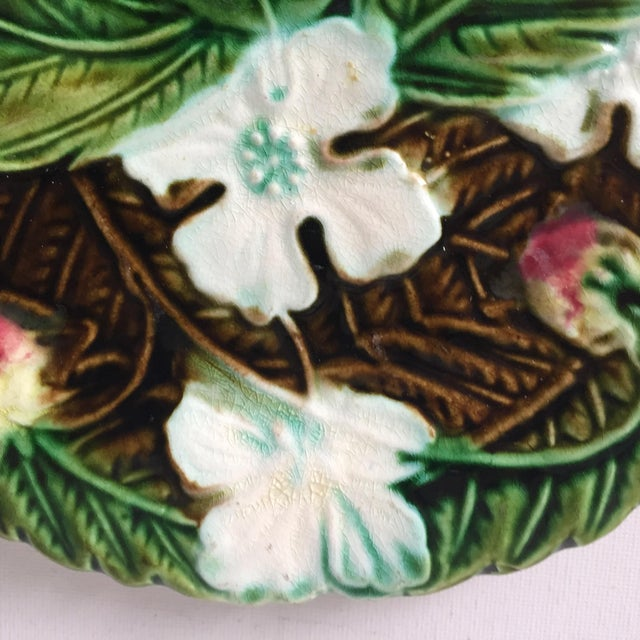 Ceramic Antique French Orchies Majolica Strawberry Plates-Set 6 For Sale - Image 7 of 11