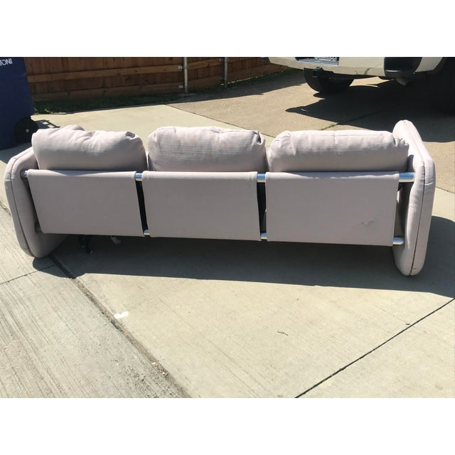 Chrome 1980s Vintage Milo Baughman Style Tubular Chrome Sling Three-Seater Sofa For Sale - Image 7 of 11