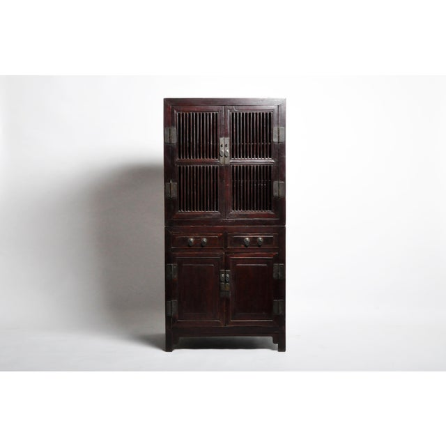 Mid 19th Century Chinese Lattice Kitchen Cabinet With Original Patina For Sale - Image 13 of 13