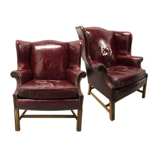 Vintage Leather Wingback Chairs — a Pair