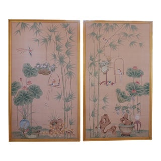 Large Hand-Painted Silk Wallpaper Panels For Sale