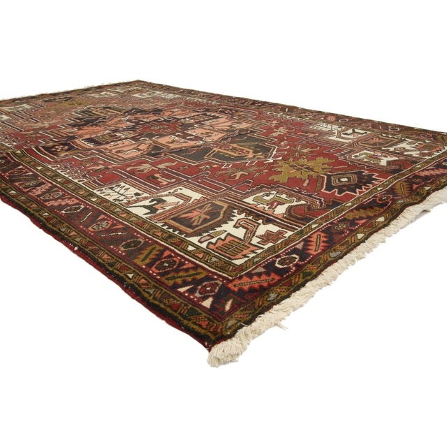 Cabin Vintage Persian Heriz Rug with Modern Style - 4′10″ × 7′6″ For Sale - Image 3 of 5