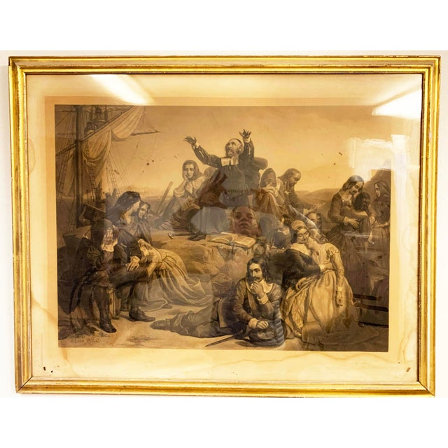 """Antique French lithograph in gold leaf frame. Writing in lower left is slightly illegible, but possibly reads """"To Mrs...."""