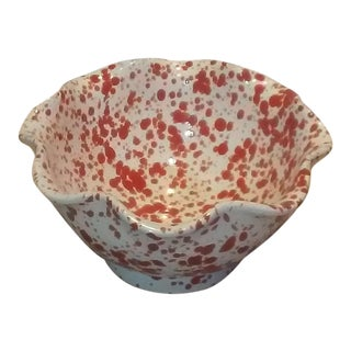 White & Red Italian Made Ceramic Bowl