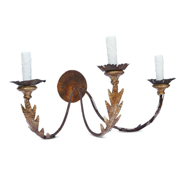Pair of Large Gilt-Iron Sconces For Sale - Image 12 of 13