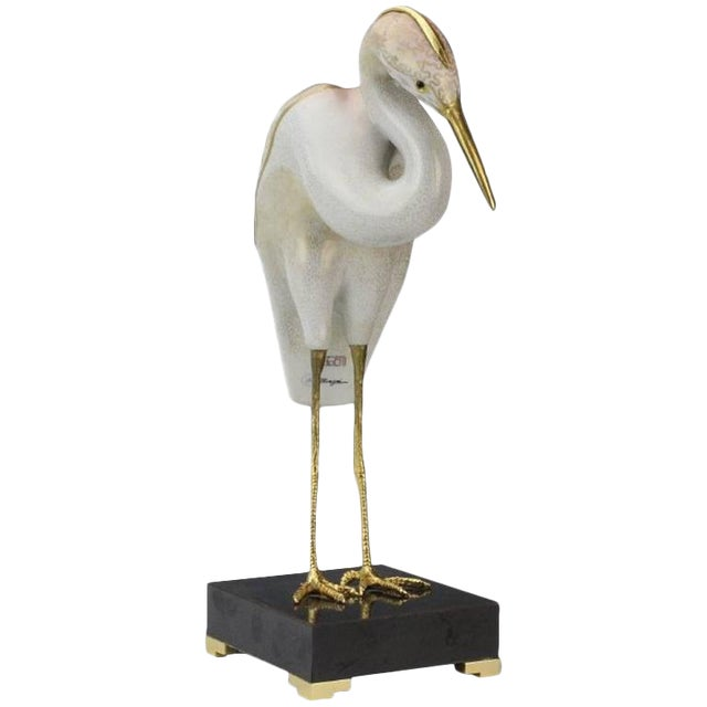 1980s Realism Stork Sculpture by Mangani for the Oggetti Company For Sale