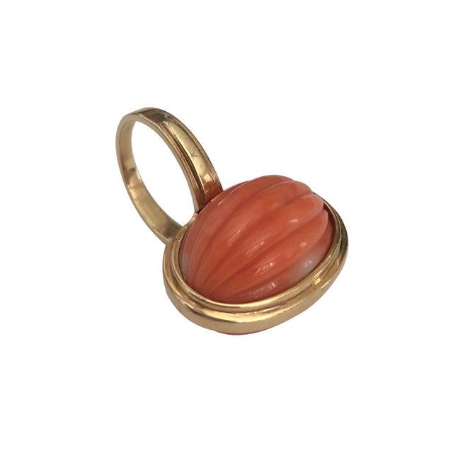 Vintage 14k Gold Carved Coral Cocktail Ring For Sale - Image 4 of 6