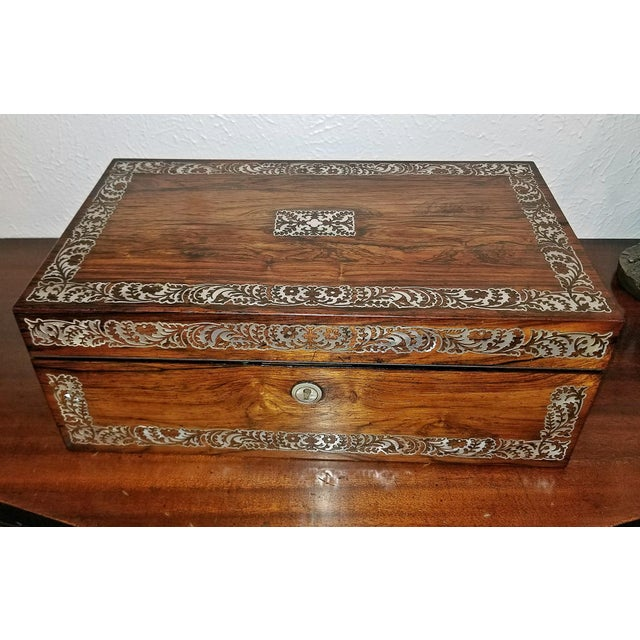 19c British Rosewood Campaign Writing Slope For Sale - Image 11 of 11