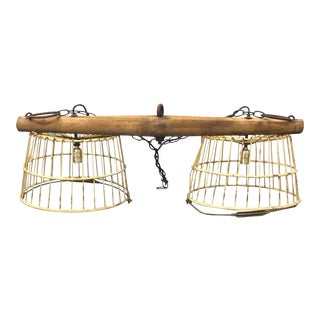Industrial Vintage Farmhouse Rustic Egg Baskets Chandelier For Sale