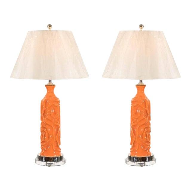 Vibrant Pair of Modern Tangerine Ceramic Lamps For Sale