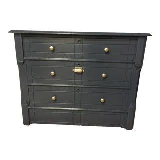 Navy Blue Wood 3-Drawer Dresser For Sale