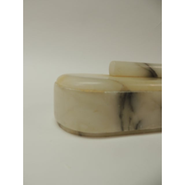 9f8fcf103ad Vintage vanity handcrafted Alabaster Art Deco oval box Oval hand-crafted  natural alabaster color with