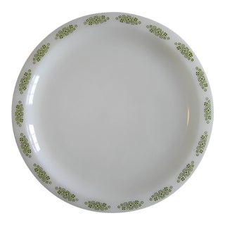 Anchor Hocking Springwood Floral Milk Glass Serving Platter For Sale
