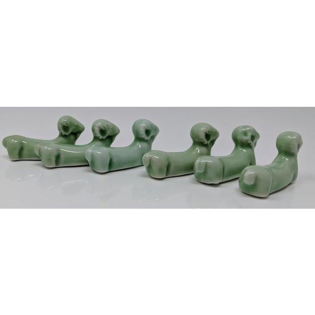 Vintage Jade Green Ram Sheep Knife Rests - Set of 6 For Sale - Image 4 of 12