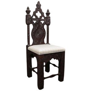 19th Century Turkish Carved Wood Chair For Sale