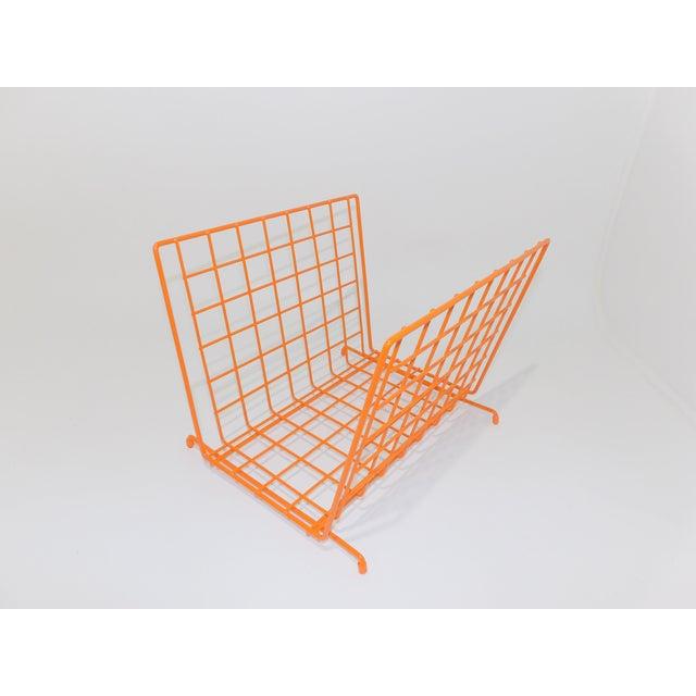 Mid Century Modern Orange Wire Metal Magazine Rack For Sale - Image 4 of 8
