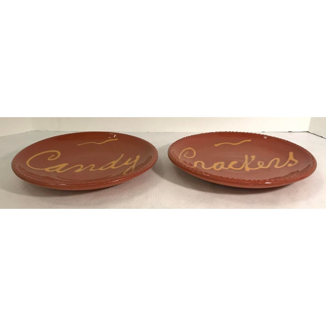 Vintage Mid-Century Terra Cotta Slip Design Snack Plates - A Pair For Sale - Image 4 of 7