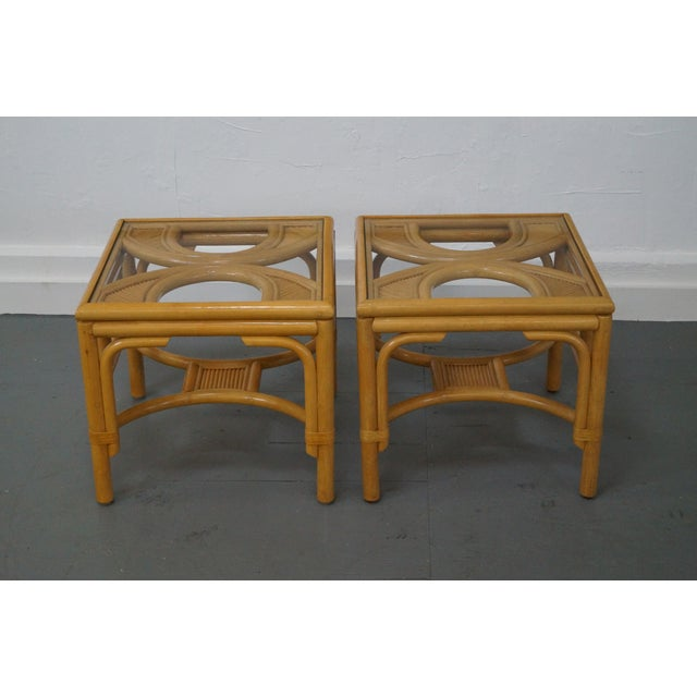 Quality Pair of Rattan Bamboo Square Glass Top Low Tables AGE/COUNTRY OF ORIGIN: Approx 30 years, America...