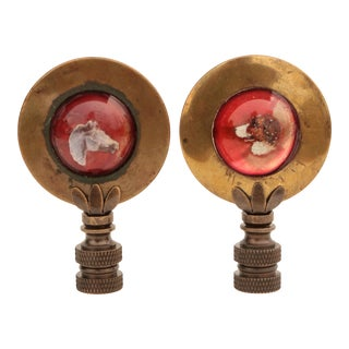 Horse & Hound Equestrian Ornament Lamp Finials, a Pair For Sale