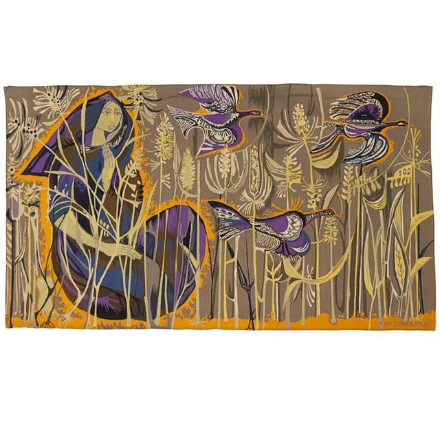 1960s Exquisite Tapestry by Mary Dambiermont, Belgian For Sale - Image 5 of 5