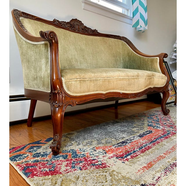 Super Victorian Horner Quality Loveseat/Settee with deeply carved crest, scroll feet and nice upholstery. A couple of...