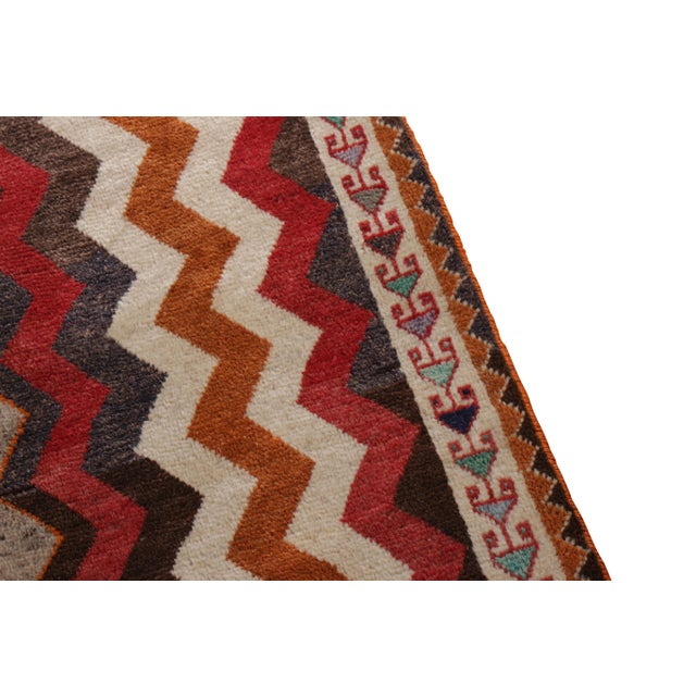 Rug & Kilim Antique Gabbeh Geometric Beige-Brown and Red Wool Persian Rug For Sale - Image 4 of 5
