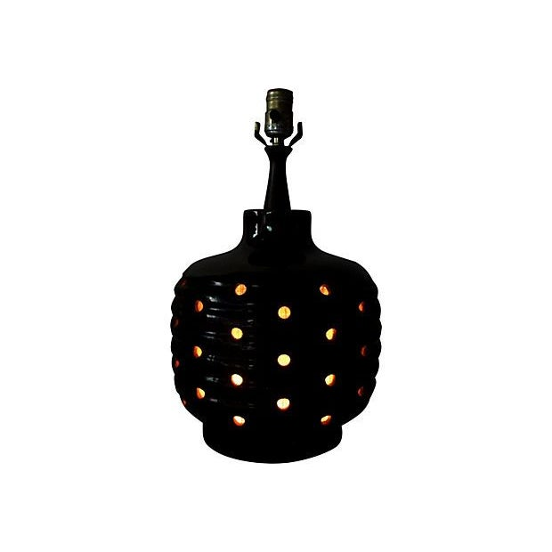 Dark Green Punctured Lamp w/ Interior Light - Image 4 of 4