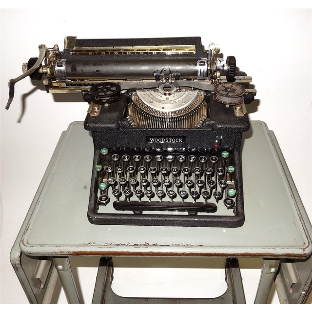 Early 20th Century Typewriter, on Steel Dual Drop Leaf Rolling Typewriter Table For Sale In Dallas - Image 6 of 11